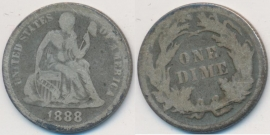 1888 SILVER SEATED LIBERTY DIME KEEN SHIELD LINES-