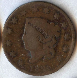 1825 Coronet Large Cent - Good with dings
