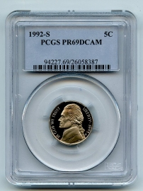 1992 S 5C Jefferson Nickel Proof PCGS PR69DCAM