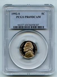 1992 PCGS PR69DCAM Jefferson Nickel