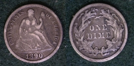 1890 Seated Dime Early Obsolete Type Coin