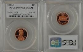2000-S PROOF LINCOLN CENT PCGS PR69RD DCAM