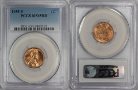 1955-S 1C RD Lincoln Cent - Type 1 Wheat Reverse - PCGS MS65RD