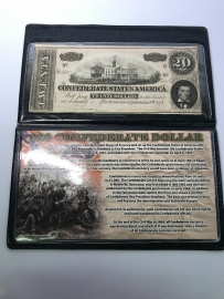1864 $20 Twenty Dollar Confederate Dollar With Protective Case