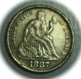 1887-S AU Liberty Seated Silver Dime